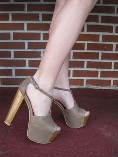 How's the view from up there? Wooden platform chunky heels t-straps by Jessica Simpson $98. |Pinned from PinTo for iPad|