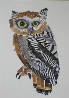 Emma Gale - Wise Old Owl 2011 collage pencil on paper Art Du Collage, Collage Drawing, Club D'art, Art Club, Owl Art, Bird Art, Classe D'art, 5th Grade Art, Magazine Collage