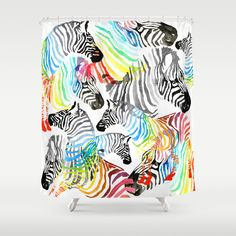 Rainbow Zebra Shower Curtain
