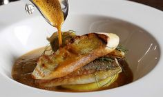 Roasted dorade, saffron mash, fennel, Cornish soup and aioli at Jason Atherton's Little Social in London, UK
