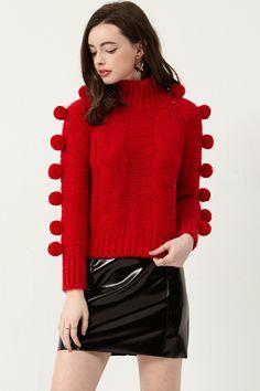 Jonna Pom Pom Sleeve Pullover . Discover the latest #fashion trends online at storets.com  #pullover #sleevepullover #pompom