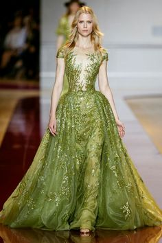 Zuhair Murad Fall winter 2016 collection- Ball gown in in bengal grass green tulle, adorned with fine sequins