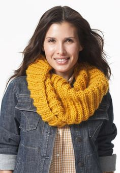Plush cowl with a fun twist - knit in Patons Classic Wool Roving.