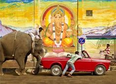 Elephant jump starting a car ... Only in india