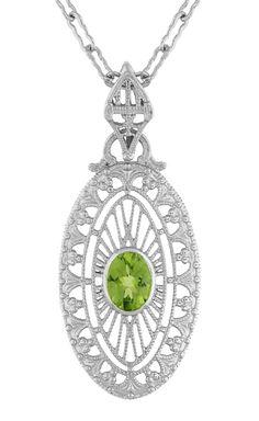 Art Deco Peridot Filigree Oval Pendant Necklace in Sterling Silver
