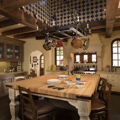 Awesome Mediterranean Kitchen Design In The Custom House: Stunning Traditional Kitchen Design With Mediterranean Kitchen Style Applied Hanging Storage Above The Wood Kitchen Table ~ SFXit Design Kitchen Inspiration