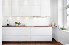 //Clean streamlined kitchen #whitekitchen #butcher