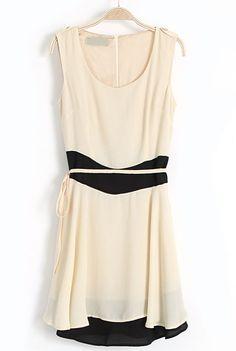 Apricot Sleeveless Back Zipper Belt Chiffon Dress