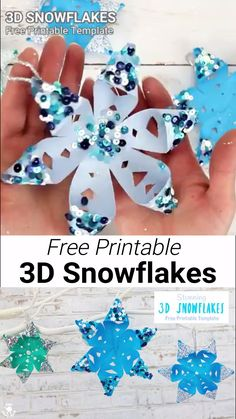 STUNNING SNOWFLAKE CRAFT - perfect for hanging on the Christmas tree or for Winter themed fun! A Winter craft with a difference! To keep things super simple we've got a free printable template for Diy Christmas Fireplace, Diy Christmas Snowflakes, Snowflake Craft, Snowflake Decorations, 3d Christmas, Paper Snowflakes, Christmas Ornaments, Kids Crafts, Christmas Crafts For Kids