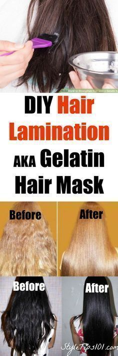 Hair lamination/gelatin hair mask recipe: 1/2 cup water; 2.5tsp (or 7g) gelatin; 1 tbsp coconut oil. Apply to dry hair, wrap in hot wet towel, after 25min shampoo, condition, blowdry. Done!