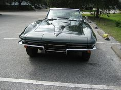 '65 Glenn Green Corvette Convertible with 327 CID, 4 speed, Vintage Air, Side Pipes, Original wheels and hubcaps, rust free chassis, big block hood is GM, not aftermarket. Drive this car anywhere. Corvette Convertible, Vintage Air, Rust Free, Pipes, Wheels, Big, Green, Cars, Autos