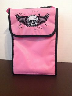 Pink Skull Lunch Bag Rock Punk Rockabilly Style Insulated