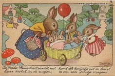 Dutch illustrator Freddie Langeler (Johanna Frederika Langeler) -reminds me of Racey Helps' artworks : ) Vintage Greeting Cards, Vintage Postcards, Hood Books, Zany Zoo, Bunny Drawing, Rabbit Art, Vintage Easter, Vintage Artwork, Children's Book Illustration