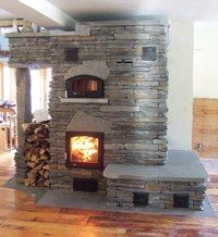 efficient hand crafted masonry heater with heated bench! Stone Cottages, Cabins And Cottages, Log Cabins, Cabin Homes, Cottage Homes, Dream Home Design, House Design, Fire Pit Backyard, Brick And Stone