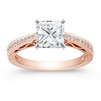 Rose Gold Band, Princess Cut Diamond