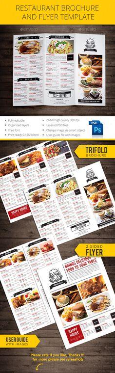 Trifold Restaurant Brochure Template  Brochure Template