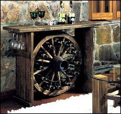 Wagon Wheel Wine Rack rustic decor and rustic styled accessories at Rocky Mountain Decor