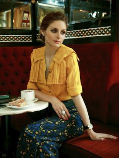Olivia Palermo in a Galliano blouse and Miu Miu trousers for Tatler Russia