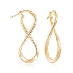 "understated elegance: Ross-Simons - Italian Hoop Earrings in 14kt Yellow Gold. 1 1/4"" - #818197"