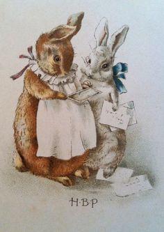 Images from Beatrix Potter's A Happy Pair. images beatrix potter Peter Rabbit & Everything Beatrix Potter! Beatrix Potter Illustrations, Beatrice Potter, Peter Rabbit And Friends, Rabbit Art, Bunny Art, Vintage Easter, Children's Book Illustration, Illustrators, Decoupage