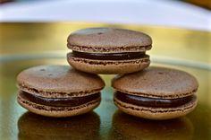 Chocolate macarons filled with silky chocolate ganache.