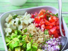 quinoa, tomate, avocat, échalote, feta, citron, Huile d'olive, moutarde, Sel, Poivre