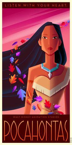 Pocahontas Art Deco Poster by Chernin