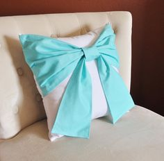 Decorative Throw Pillow Bright Aqua Bow on White by bedbuggs, $34.00