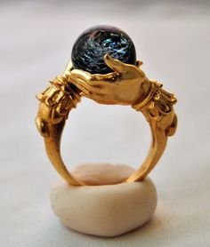 Jewelry Pagan Wicca Witch:  The Celestial Galaxy Oracle #Ring, in Brass, Omnia Oddities.