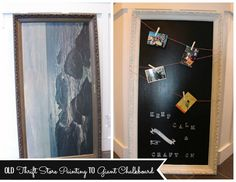 Old thrift store painting turned giant chalkboard with Martha Stewart Chalkboard Paint at the happy housie