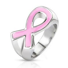 Pink Ribbon - Pink Enamel Filled Stainless Steel Symbol of Breast Cancer Awareness Ring #FallCollection2013 #BuyBlueSteel