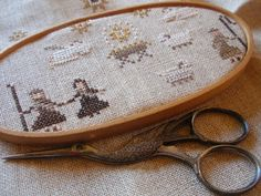 Winding Vine Wanderings Wooden Hoop, Cross Stitch Embroidery, Vines, Coin Purse, Purses, Wallet, Decor, Handbags, Decoration