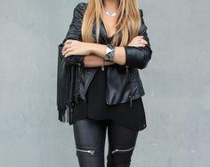 More on www.innerclassy.de black leather pants zara, jacket hm, grunge black, silver accessoires