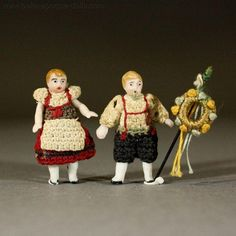 Tiny German All-Bisque Dolls in Original Costume - By Carl Horn from belle-epoque-dolls on Ruby Lane