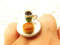Coffee Ring  Miniature Food Jewelry Sweet by SouZouCreations, $10.00      #etsy #jewelry #jewellery #shopping #woman #girl #etsy #handmade #food #yummy #gift #present #dollhouse #accessory #accessories #harajuku #tokyo #fashion