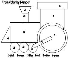 Train Color by Number Print