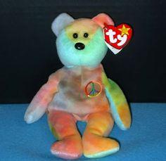 "Retired TY Beanie Babies ""PEACE' Ty-Dye ""Pastel"" Bear Plush Toy 1996 PVC Pellets #TyBeanieBabiesFamily"