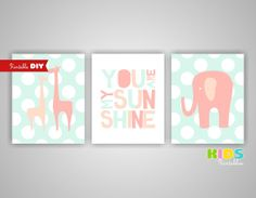 Printable DIY Girl Nursery Art Prints, Peach, Light Coral, Mint, Elephant, Giraffe, You are my sunshine, Set of 3 8x10 JPG files ( 001stpm ) on Etsy, $12.00