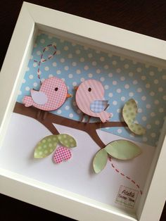 Birdie Shadow Box - what a cute thing to do with scraps Kids Crafts, Diy And Crafts, Arts And Crafts, Paper Crafts, Diy Y Manualidades, Create A Critter, Frame Crafts, Box Frames, Baby Decor