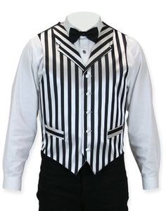 If Mike wore this vest, I could totally match with the beautiful black and white striped bolero that I pinned to my fashion board!