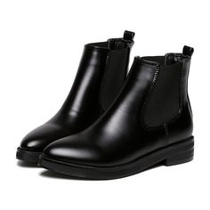 Black Chunky Heel Point Toe PU Boots (170 RON) ❤ liked on Polyvore featuring shoes, boots, botas, обувь, black, zip boots, black pointed boots, thick heel boots, black chunky heel boots and low black boots