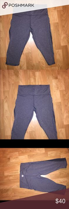 NWOT gray lululemon crop leggings NWOT lululemon gray crop leggings! Have a little mesh towards the bottom along the sides. Waist seems a little stretched out from trying on but able to tighten with the waist string! In great condition! lululemon athletica Pants Leggings