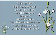 V deňTvojich krásnych narodenín prišli sme k Tebe s pozdravením: želáme Ti zdravia mnoho, veľa šťastia okrem toho. Radosti a lásky ešte na života ďalšej ceste