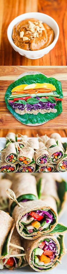 Rainbow Vegetable Wraps with Peanut Sauce - these portable sandwiches are perfect for lunch or an afternoon snack - full of veggies and a delicious peanut sauce ~ http://jeanetteshealthyliving.com