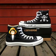 One Piece Anime Shoes Converse Chuck Taylor Hand Painted Black Canvas Shoes High Top Sneaker