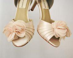 3d547106c500 Blush Wedding Peep Toe Wedding Shoes Chiffon Flower Off Center on Toe. Ellie  Wren - Custom Wedding Shoes