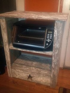 A Microwave/toaster Oven Stand Sid Made From Barn Siding!