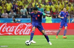 Radamel Falcao of Colombia scores his team's second goal during the 2018 FIFA World Cup Russia group H match between Poland and Colombia at Kazan. Carlos Valderrama, Fifa World Cup, Scores, Poland, Russia, Goals, Group, Colombia