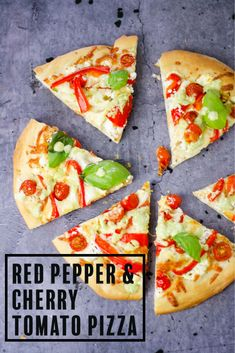 Red pepper, cherry tomato & goat cheese pizza topped with a creamy pesto mayo drizzle. A quick, delicious dinner recipe. Entree Recipes, Pizza Recipes, Snack Recipes, Goat Cheese Pizza, Quick Pizza, Homemade Pesto, Protein Shake Recipes, Easy Meals For Kids, Delicious Dinner Recipes