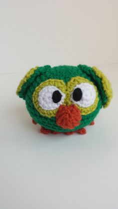 Crocheted Stuffed Owlet Green by MegsMinions on Etsy, $8.00